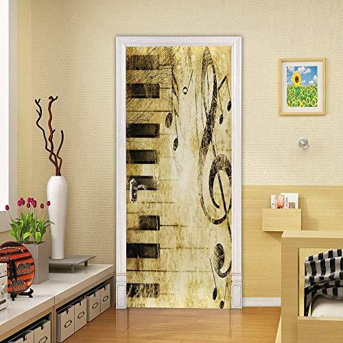 Wsmsp zelfklevende 3D deur muurschilderingen Peel en Stick Decor Stickers DIY zwart en wit Piano toetsen Opmerkingen PVC Decoratieve Waterdichte Op deur Behang Verwijderbare Art Poster 30.3X78.7 (77X200Cm)