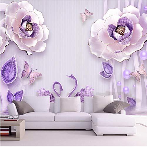 Wuyii Maak elke mogelijke grootte behang wandschilderij 3D reliëf bloemen-welbehagen pioenrozen-Europese achtergrond muur-schilderij interieur-behang bijzonder aan 350 x 250 cm.