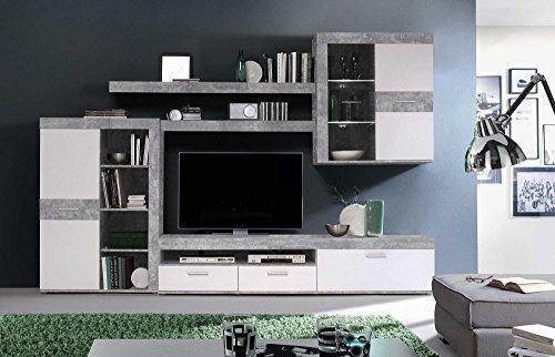 lifestyle4living Anbauwand, Wohnzimmerschrank, Wohnwand, Schrankwand, Fernsehwand, Wohnzimmerschrankwand, Wohnschrank, Beton-Optik, Lichtgrau, weiß