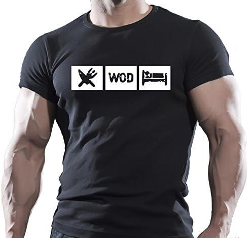 Crossfit WOD Entrenamiento Funcional Entrenamiento Fitness Deporte Negro Camiseta
