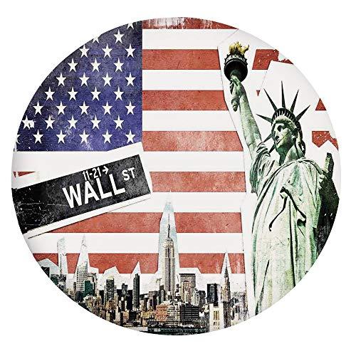 Nappe en polyester à bords élastiques - Collage NYC avec célèbres monuments Wall Street et Manhattan Urban - Convient aux tables rondes de 101,6 à 111,8 cm - Protection pour votre table