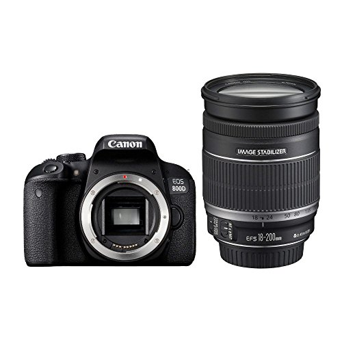 Canon EOS 800D + EF-S 18-200mm F3.5-5.6 IS Juego de cámara SLR 24,2 MP CMOS 6000 x 4000 Pixeles Negro - Cámara Digital (24,2 MP, 6000 x 4000 Pixeles, CMOS, Full HD, Pantalla táctil, Negro)