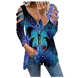 Wave166 Blusa sexy para mujer, corte bajo, cuello en V, con cremallera, hombros descubiertos, camiseta de manga larga, azul, XL