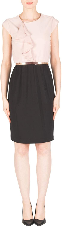 Joseph Ribkoff  183034 Woman's Black Winter bluesh Belted Dress