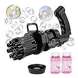 Seifenblasenmaschine, Lustige 8-Loch Gatling Bubble Machine mit Seifenblasen, Seifenblasenpistole für Indoor Oder Outdoor für ungen und MäDchen Kleine Geschenke