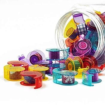 LeisureQ Bottled Mini Masking Tape DIY Decorative Tapes with Dispenser Holder 0.47 Inches x 2.7Yards  Glitter Film