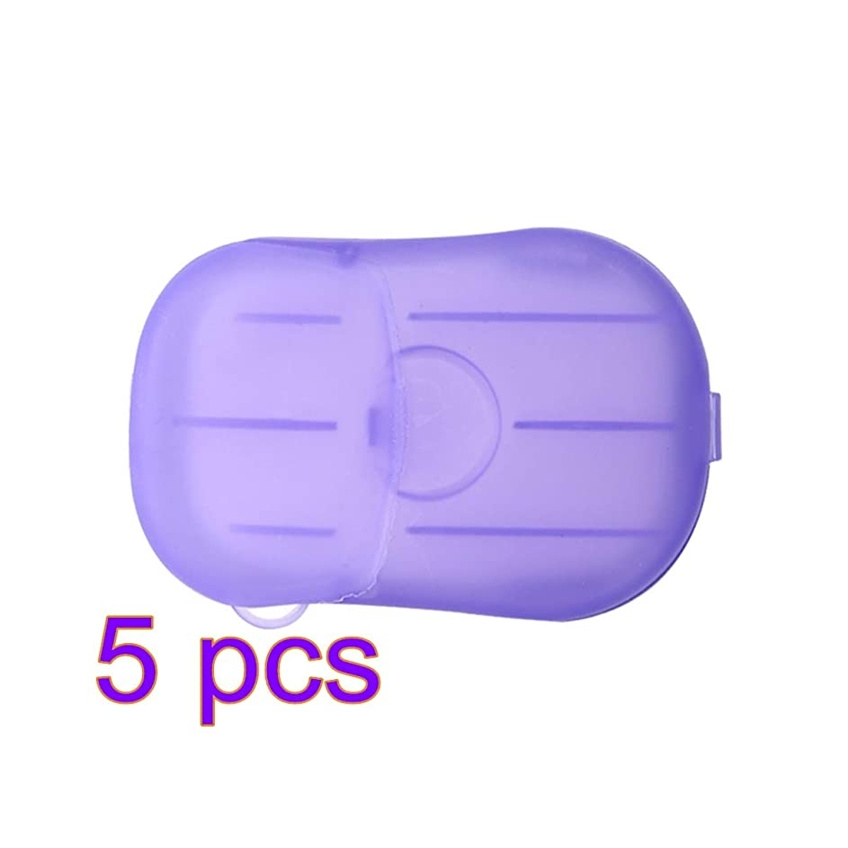 構成員リラックス凝縮するLIOOBO 5セットポータブルソープペーパー使い捨て手洗いペーパーソープスライスシーツ子供用大人トイレ旅行屋外用(パープル)