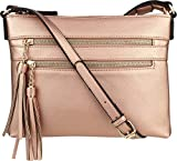 B BRENTANO Vegan Multi-Zipper Crossbody Handbag Purse with Tassel Accents (Rose-Gold)