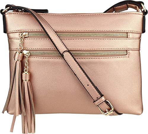 B BRENTANO Vegan Multi-Zipper Crossbody Handbag Purse with Tassel Accents (Rose-Gold)