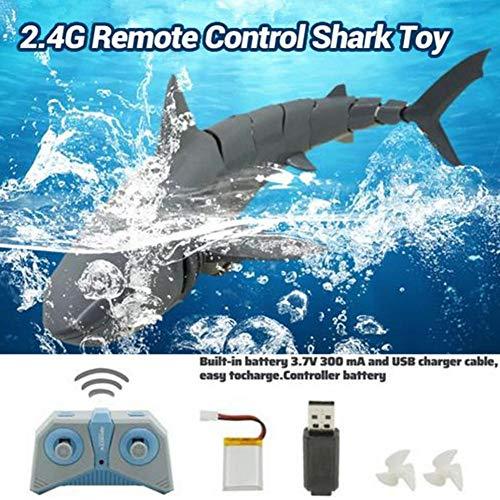 Telisii RC Electric Toy, 2.4G Simulation Fernbedienung Shark Boat Toy, wiederaufladbares 4-Kanal RC Shark Fish Boat, U-Boot Mini Radio Fernbedienung Schwimmbad Spielzeug Grey
