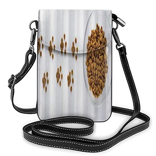 ADONINELP Lederhandtasche Umhängetasche Pfotenschild aus trockenem Katzen- oder Hundefutter mit voller Schüssel Kleine Umhängetasche Handytasche Geldbörse Handtaschen Umhängetasche Handytasche für Fr