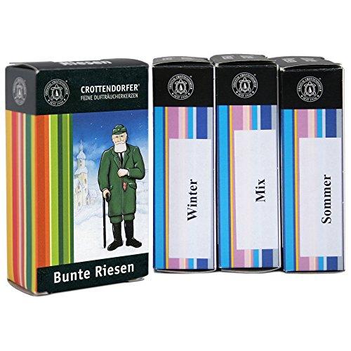 Original Crottendorfer Räucherkerzen - Riesen 5 Stück - Größe XL - 4er Set mit Bunte Mischung, Mix, Sommer- und Winteredition - Made in Germany