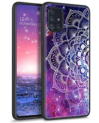 YINLAI Samsung Galaxy A71 Hülle Mandala, Handyhülle Samsung A71 Lila Mandala Nebula Muster mit TPU Stoßstange Hybrid PC Schale rutschfeste Fallschutz Kratzfest Schutzhülle für Samsung A71 4G