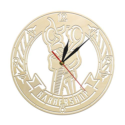hufeng Reloj de pared Barber Poste Tijeras de pelo de madera rústica Barber Shop Reloj de pared Peinado Peluquero Logo Signo Decorativo Salón de Pared