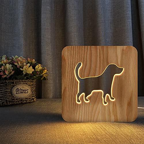 Lámpara de mesa para perro, lámpara LED para dormir, para mesita de noche, decoración del hogar o regalos para niños y adultos, luz nocturna 3D, lámpara de escritorio de madera tallada USB, G