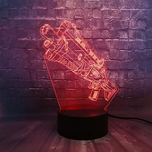 Game Battle Gun 3D Optische Illusie Lamp 7 Kleuren Nachtlampje LED Tafellamp met USB Power Cable & Remote, Het is een verjaardagscadeau voor schattige kinderen en kan ook worden gebruikt voor Home Decoration