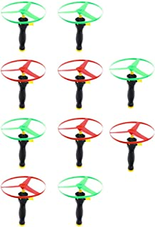 Toyvian Kids Flying Toys Pull String Flying Disc Pull Cord UFO Flying Saucers Helicopters Funny Outdoor Toys for Kids Chil...