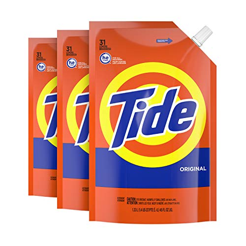 Tide Liquid Laundry Detergent Soap Pouches, High Efficiency (HE), Original Scent, 93 Total Loads (Pack of 3)
