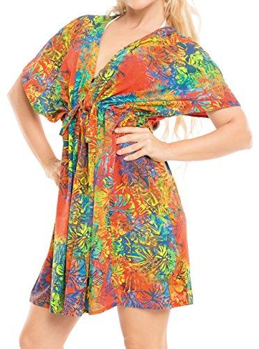 LA LEELA Damskie bikini okrycie damskie sznurek luźne stroje plażowe stroje kąpielowe krótkie rękawy sukienka plażowa bluzka seksowny strój kąpielowy na lato
