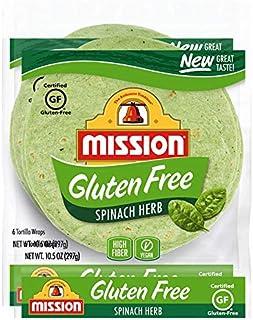 Mission Gluten Free Spinach Herb Tortilla Wraps (2 Packs) - Vegan - High Fiber - (12 Tortillas)