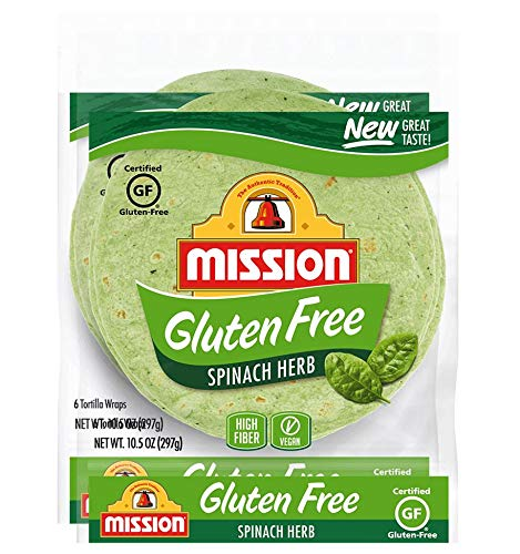 Mission Gluten Free Spinach Herb Tortilla Wraps (2 Packs) - Vegan - High Fiber - (12 Tortillas)