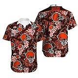 NFL Tシャツポロシャツアンダー - クリーブランド・ブラウンズラグビーファンジャージー夏の3Dハワイアン・シャツショートTシャツカジュアルスウェットトップ - ティーンギフト Brown-S