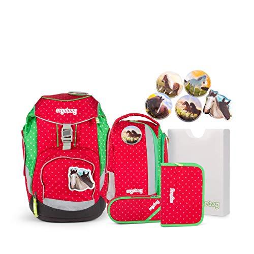 Ergobag Pack GaloppBär, ergonomischer Schulrucksack, Set 6-teilig, 20 Liter, 1.100 g, Rot