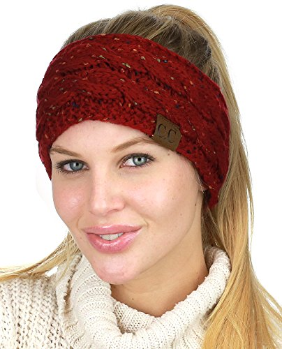 C.C Soft Stretch Winter Warm Cable Knit Fuzzy Lined Ear Warmer Headband, Confetti Burgundy