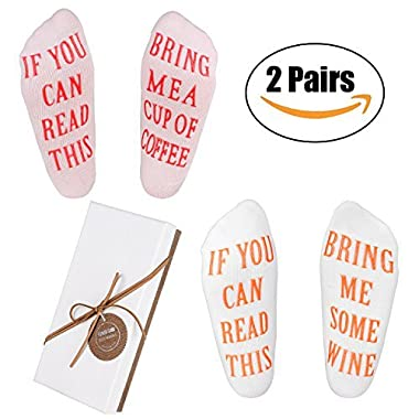 Wine Socks for Women - Funny Gifts with Gift Box  If You Can Read This Bring Me Some Wine  Luxury Combed Socks,Best Novelty Gifts for Wine Lover Birthday,Valentines Day,White Elephant