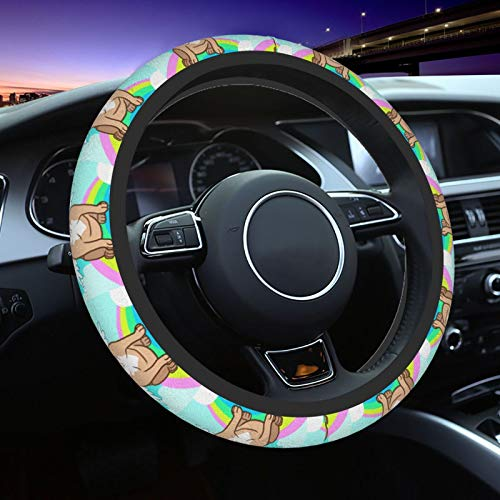 JIAU HUA Unicorn French Bulldog with Wings Car Steering Wheel Cover 15 Inch Universal Anti-Slip Elasticity Protection Cover