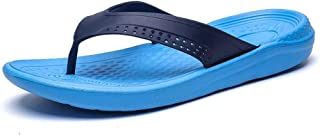 Men Flip Flops Summer Beach Flat Sandals Soft And Comfortable (Color : Blue, Size : 47)