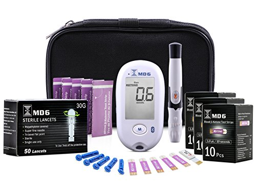 Blood Ketone & Glucose Monitoring System | Track Your Ketones & Ketogenic Diet Progress | Ketosis Test Kit with Lancing Device, 10 Blood Glucose Test Strips, 30 Keto Strips + 50 Lancets by BrunoPharma
