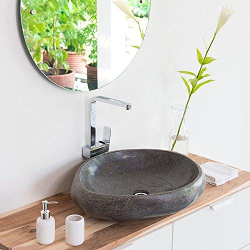 wohnfreuden Waschbecken aus Stein natürlich ca 60 cm Naturstein in Bad WC Garten mit Unikatauswahl nach dem Kauf aus Bildergalerie