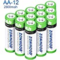 12-Pack Zonhood AA Rechargeable 2800mAh Batteries