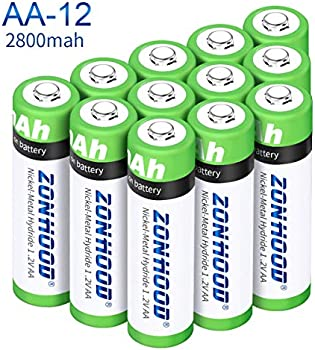 12-Pack Zonhood AA Rechargeable 2800mAh Batteries