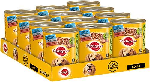 Pedigree Hundefutter Nassfutter mit 3 Sorten: Rind, Lamm und Huhn in Pastete, 12 Dosen (12 x 400g)