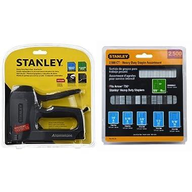 Stanley TR250 SharpShooter Plus Heavy-Duty Staple/Brad Nail Gun with TRA700BN Heavy-Duty Staple & Brad Assortment, 2500-Pack