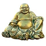 """Laughing Buddha Statue for Home Decor – Handmade Antique Gold Style - Big Happy Golden Buddha Sculpture - Lucky Buddha Statue for Wealth and Happiness – 6.5"""" Sitting Buddha"""