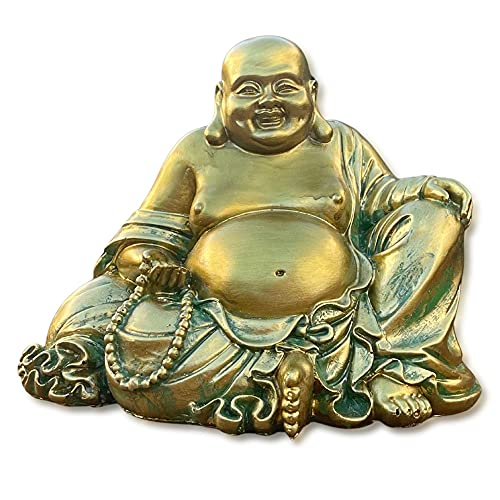 Laughing Buddha Statue for Home Decor – Handmade Antique Gold Style - Big Happy Golden Buddha Sculpture - Lucky Buddha Statue for Wealth and Happiness – 6.5' Sitting Buddha