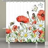 Duschvorhang mit Mohnblumen-Motiv, Aquarell, Frühlingsgarten, niedlicher Biene, Schmetterling, Mohnblumen & Gänseblümchen, 12 Haken, 182,9 x 182,9 cm