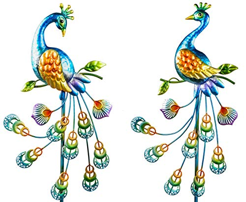 Formano Gartenstecker Metall bunt lackiert - Blume, Eule oder Pfau (bunt - Pfau)
