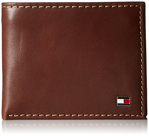Tommy Hilfiger Men's Leather Wallet – Slim Bifold with 6 Credit Card Pockets and Removable Id Window, Tan Zipper, One Size