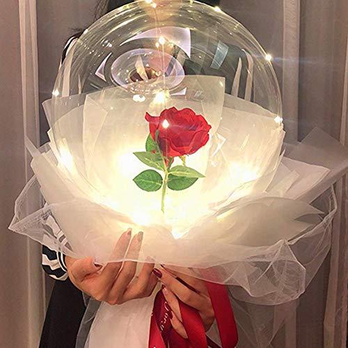 Knowled LED-Ballon mit blinkenden Lichtern, Rosenkugel, Blumenstrauß mit Lichtern, transparent, rund, Bobo-Ball für Geburtstag, Hochzeit, Party, Weihnachten, Wellen, Geschenk weiß