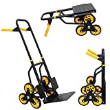 Mount-It! Stair Climber Hand Truck and Dolly, 264 Lb Capacity Heavy-Duty Trolley Cart with Telescoping Handle and Rubber Wheels