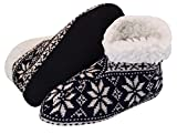 J.Ann Ladies Knitted Home Slipper Bootie with NON Slip Bottom and Faux Fur inside- 9-11. (NAVY)
