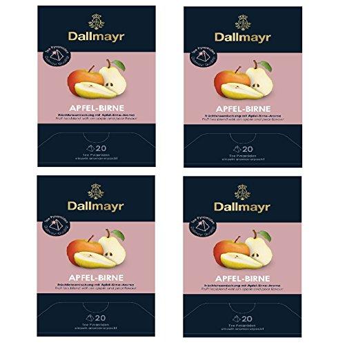4 x Dallmayr Apfel Birne Früchtetee 20 Tee Pyramiden x 3,5g