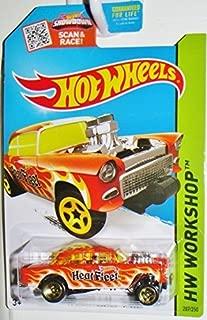 Hot Wheels, 2015 HW Workshop, Heat Fleet '55 Chevy Bel Air Gasser Die-Cast Vehicle [Orange] #207/250, 1:64 Scale by Hot Wheels