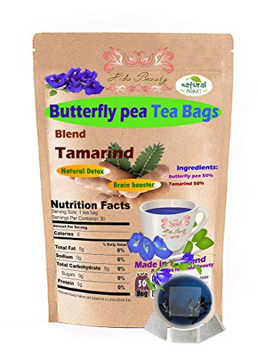 Premium Butterfly Pea tea blend Tamarind 30 Tea bags Filling Relax with Natural Taste