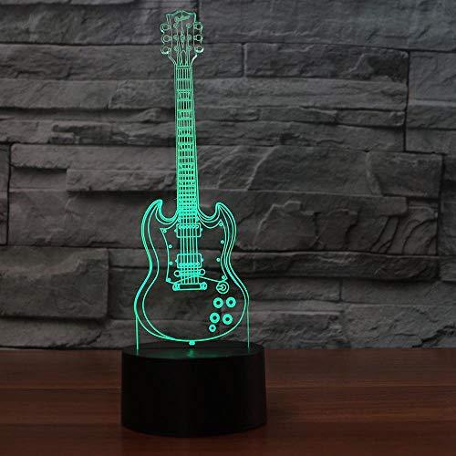 7 Colores Luz De Noche 3D Luz De Noche 3D 7 Decoración Colorida De La Cabecera Lámpara De Escritorio De Guitarra Dormitorio Usb Regalos Para Niños Sueño Instrumentos Musicales Lámparas
