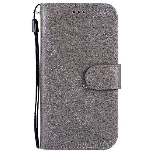 Herbests Coque Galaxy S4, Coque avec Motif Fleur en Relief Ultra Mince Etui en Cuir Housse de Protection avec Fentes de Carte de Crédit,Gris